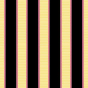 Yellow & Pink Stripe on Black