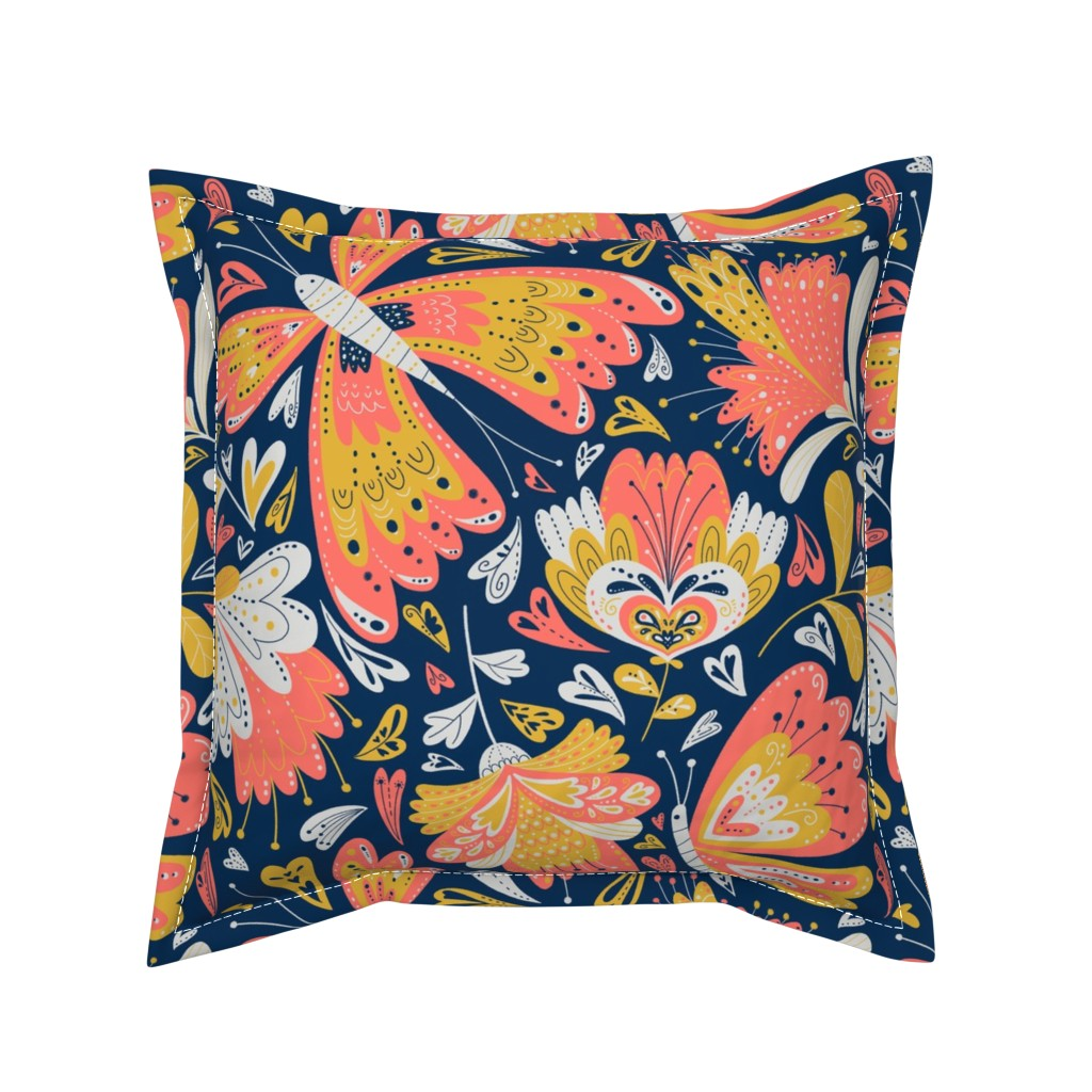 Serama Throw Pillow featuring fancy florals by gnoppoletta