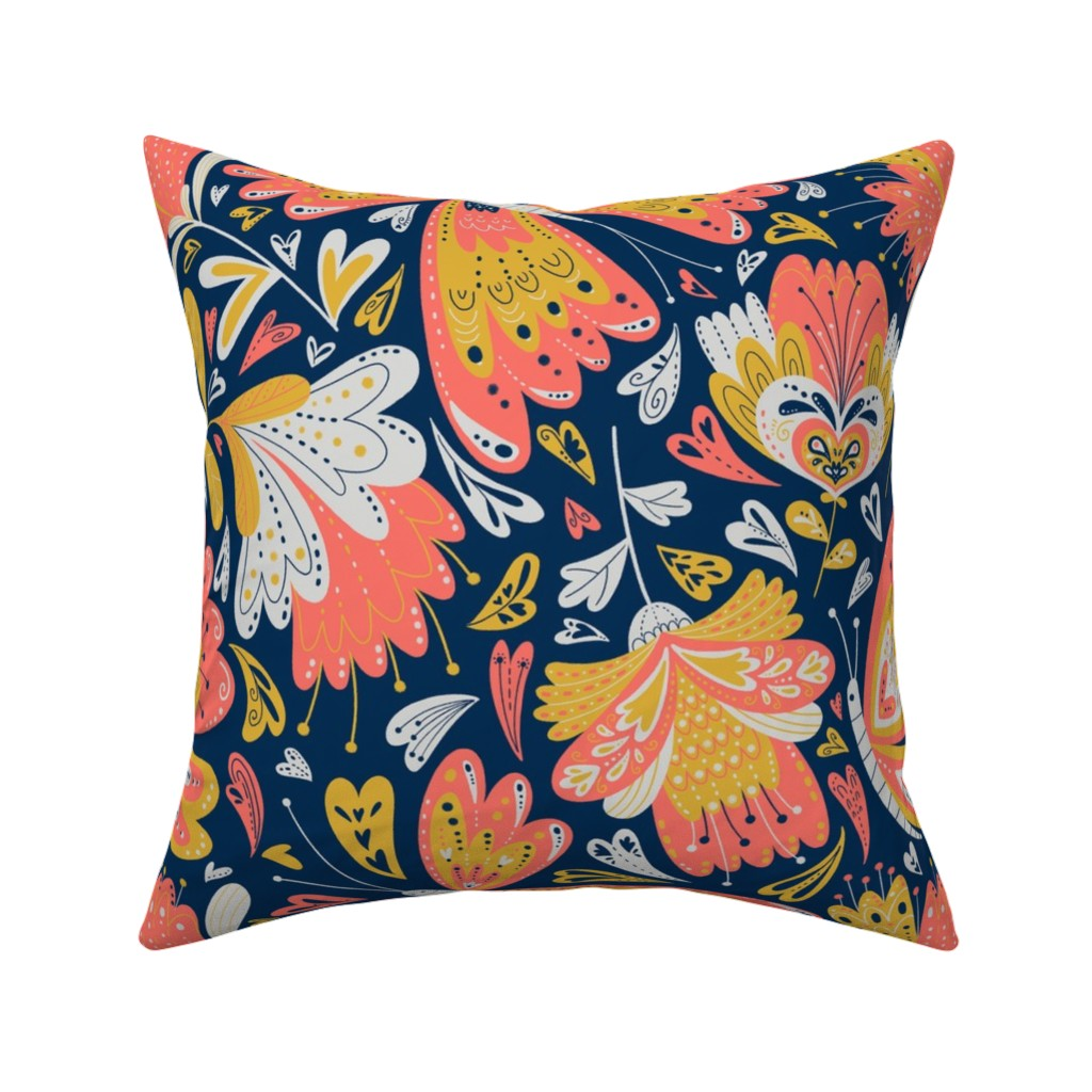 Catalan Throw Pillow featuring fancy florals by gnoppoletta