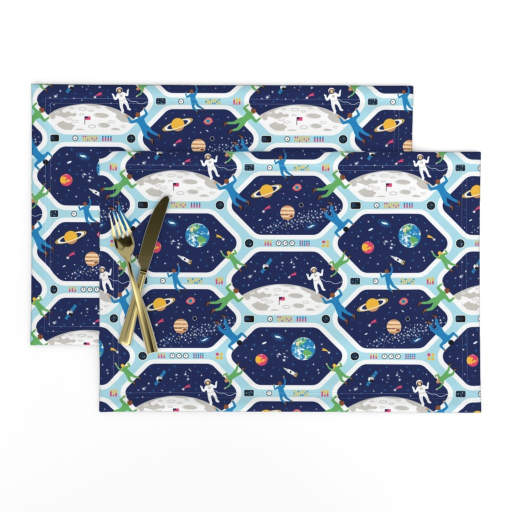 Lamona Cloth Placemats featuring Clear For Landing by nadyabasos