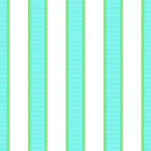 Aqua Blue & Green Stripes on White