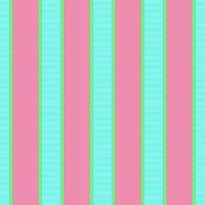 Aqua Blue & Green Stripe on Pink