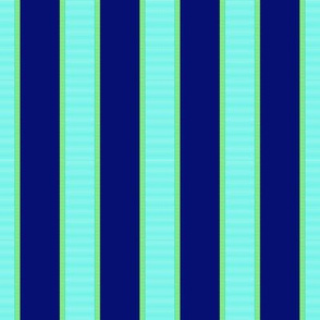 Aqua Blue & Green Stripe on Purple