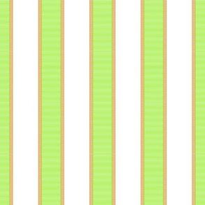 Bright Green & Gold Stripe on White