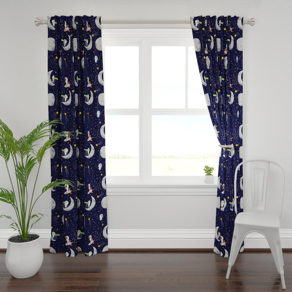 Plymouth Curtain Panel featuring Groovy Galaxy Girls by pattyjanepress