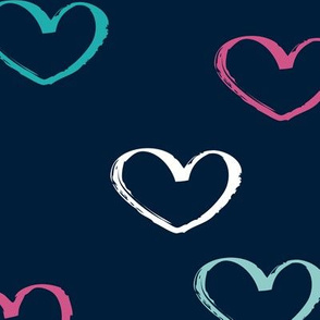 Sweet colorful little lovers valentine romance theme with hearts navy JUMBO