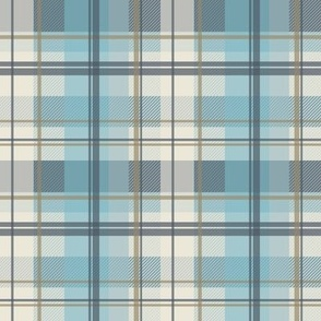 winter plaid - ice blue and beige