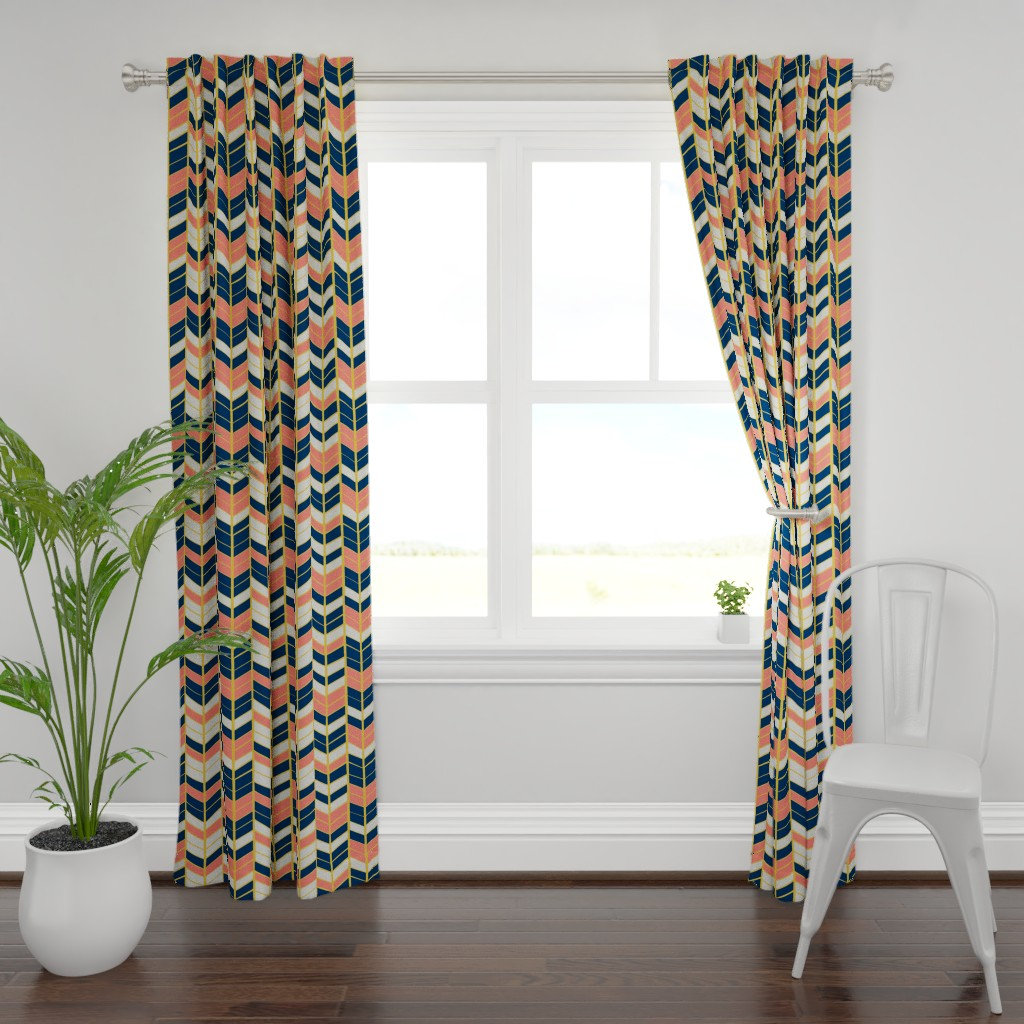 Plymouth Curtain Panel featuring Coral & Navy Herringbone by artscarves