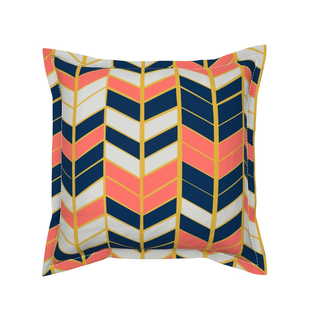 Serama Throw Pillow featuring Coral & Navy Herringbone by artscarves