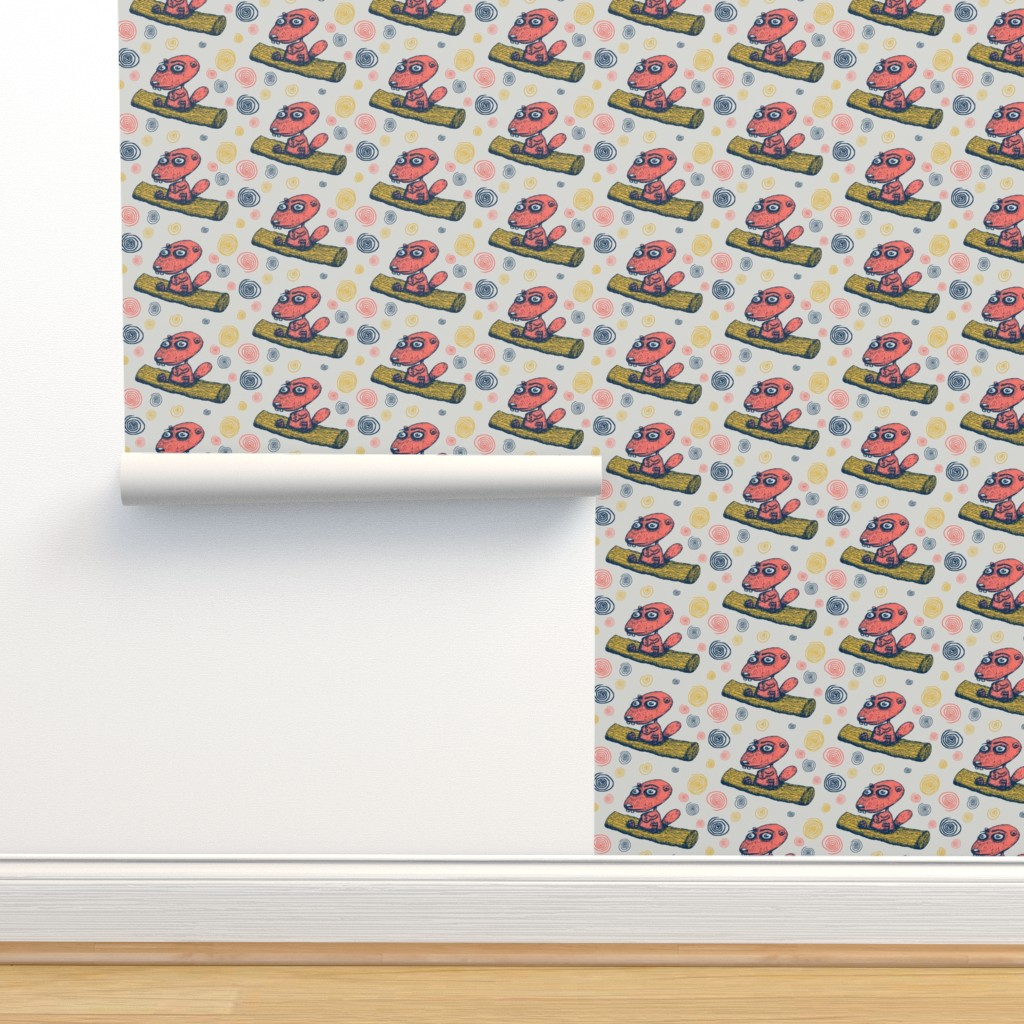 Isobar Durable Wallpaper featuring cute little beaver sitting on a log contemplating life, large scale, gray grey coral yellow navy dark blue by amy_g