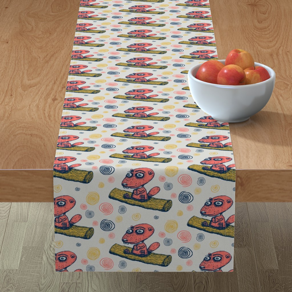Minorca Table Runner featuring cute little beaver sitting on a log contemplating life, large scale, gray grey coral yellow navy dark blue by amy_g