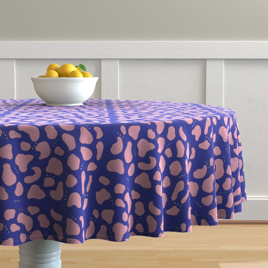 Malay Round Tablecloth featuring Pebbles & Rock in Blue by simplybykt