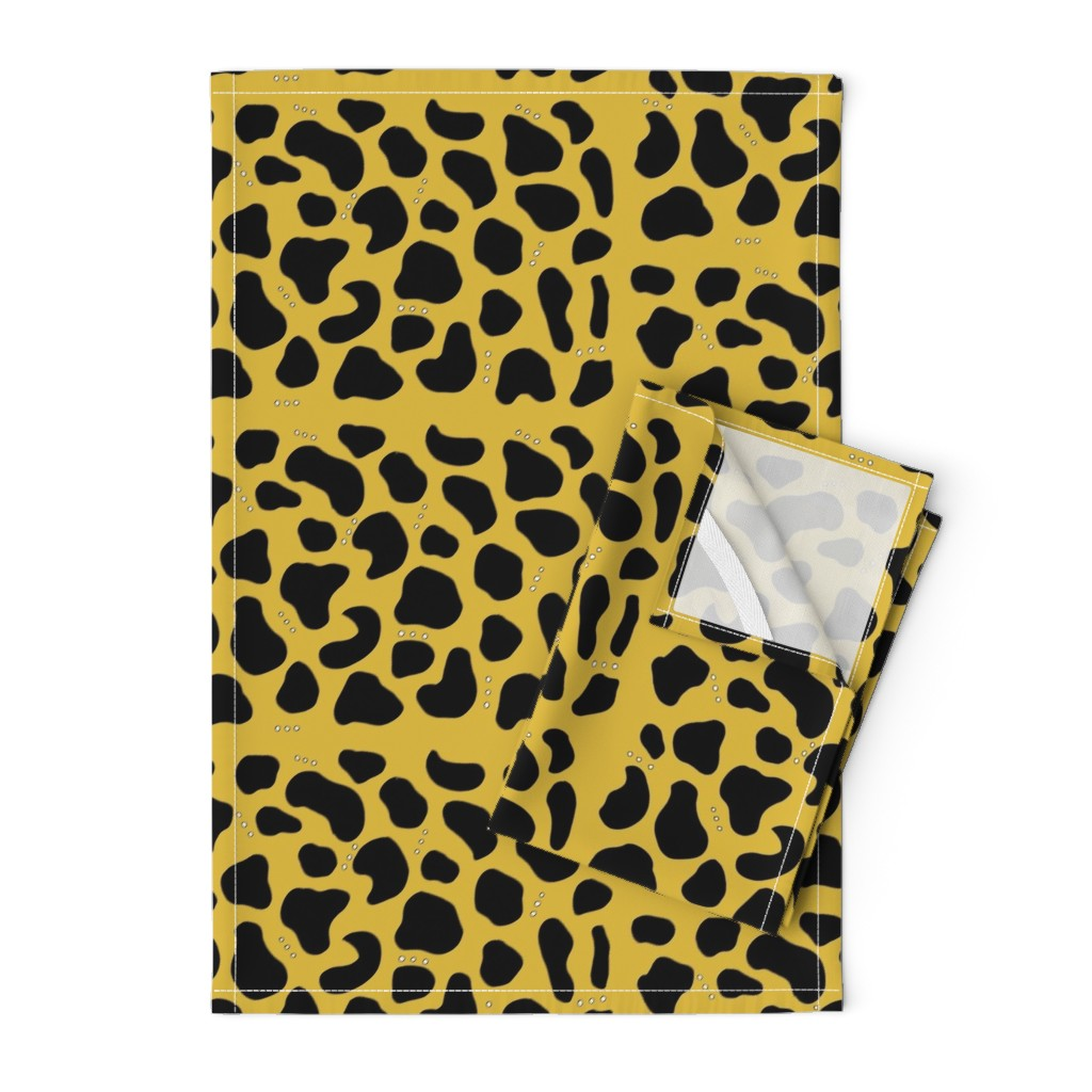Orpington Tea Towels featuring Pebbles & Rock in Mustard by simplybykt