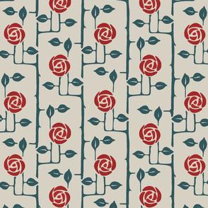 Rose Trellis Red Flowers
