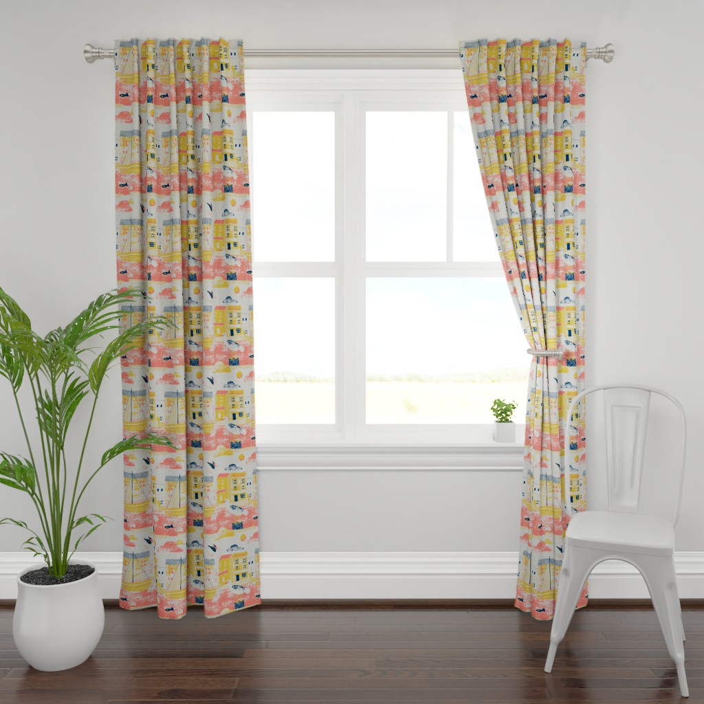 Plymouth Curtain Panel featuring Sea gulls limited colours by Mount Vic and Me by mountvicandme