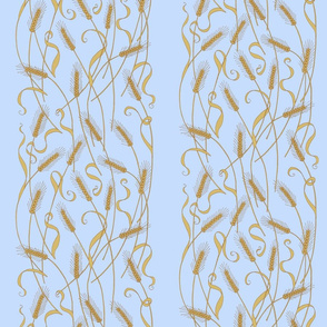 Art Nouveau Wheat wallpaper - blue