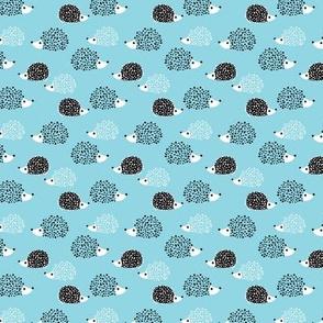 Scandinavian sweet hedgehog illustration for kids gender neutral spring black and white blue SMALL