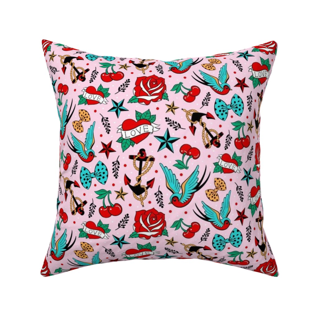 Catalan Throw Pillow featuring Rockabilly Love by suzytaylordesigns