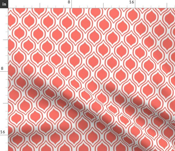 Ogee Fabric Traditional Fabric Coral Spoonflower