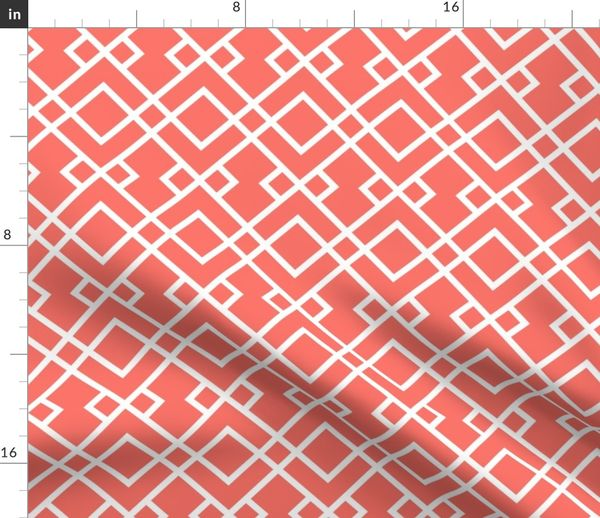 Fabric By The Yard Trellis Fabric Coral Fabric Living Coral Fabric Pantone Fabric Color Of The Year Fabric Home Decor Fabric Trellis