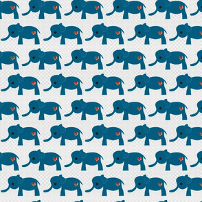 Blue Baby Elephants with Plaid Hearts