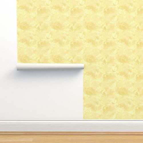 Wallpaper Pastel Yellow Abstract Feather Pattern