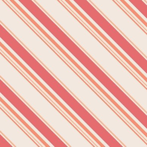 diagonal stripes peach, coral and cream