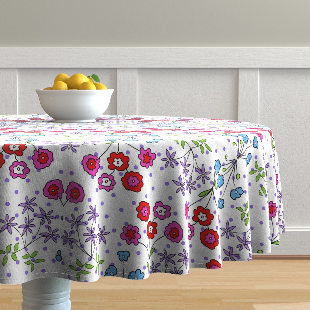 Malay Round Tablecloth featuring RETRO FLOWERS-1-01 by soobloo