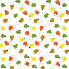 Hedgehogs & Leaves - White Background