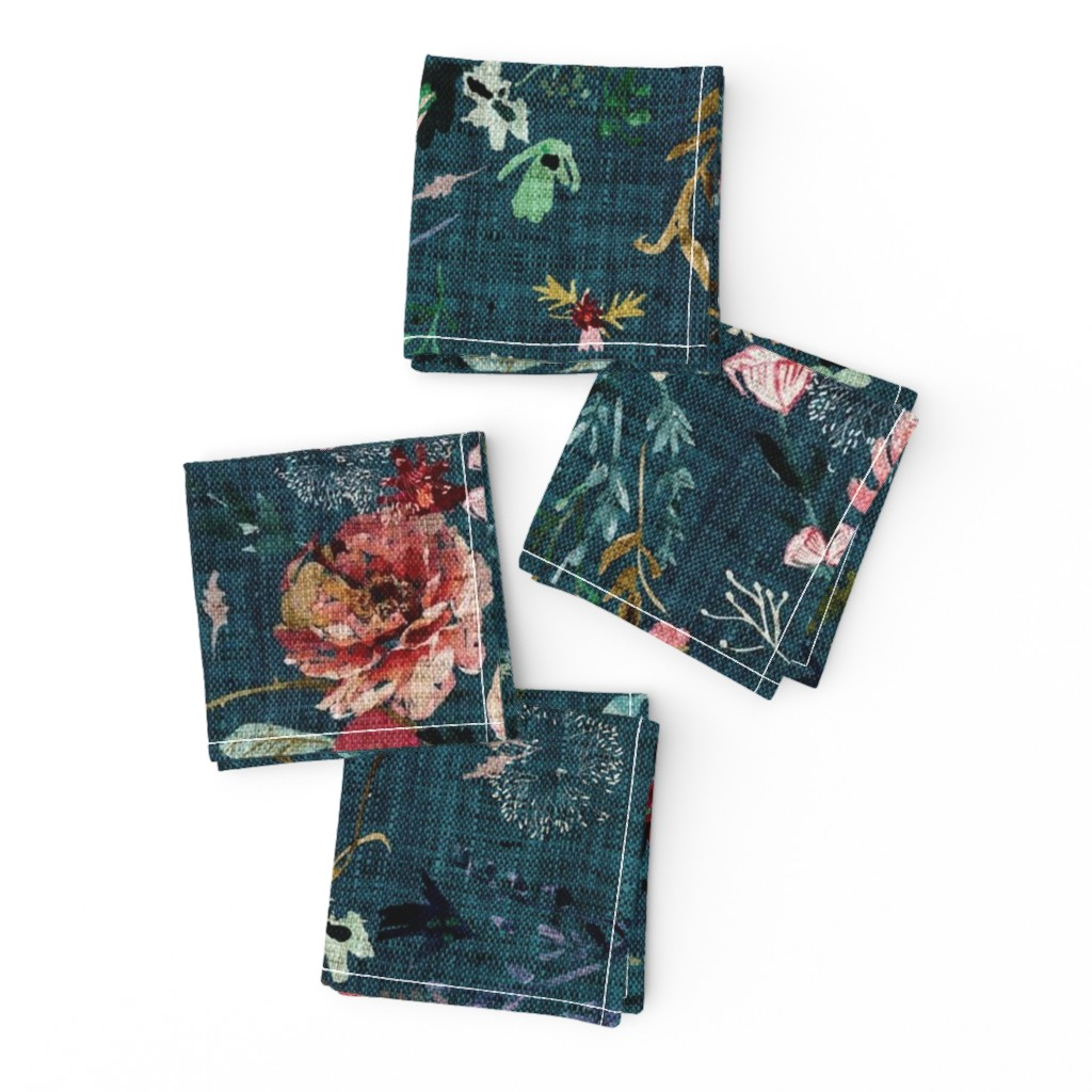 Frizzle Cocktail Napkins featuring Fable Floral (teal) JUMBO by nouveau_bohemian