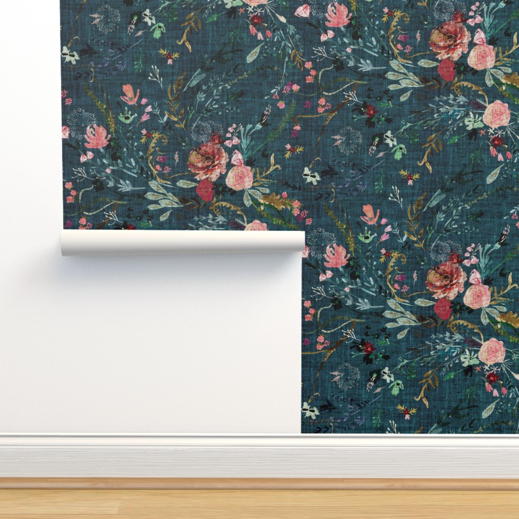 Isobar Durable Wallpaper featuring Fable Floral (teal) JUMBO by nouveau_bohemian
