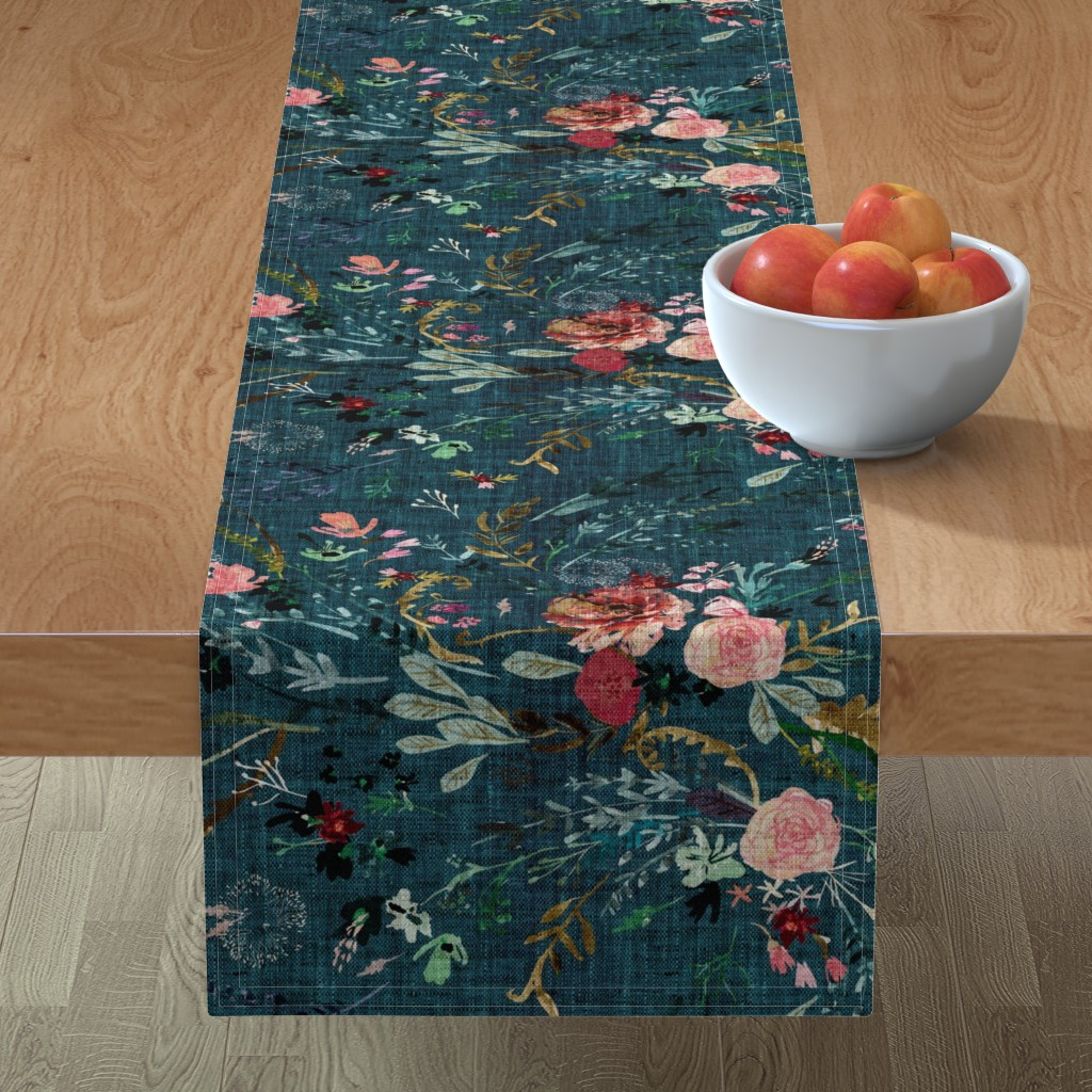 Minorca Table Runner featuring Fable Floral (teal) JUMBO by nouveau_bohemian