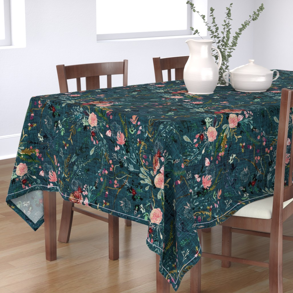 Bantam Rectangular Tablecloth featuring Fable Floral (teal) JUMBO by nouveau_bohemian