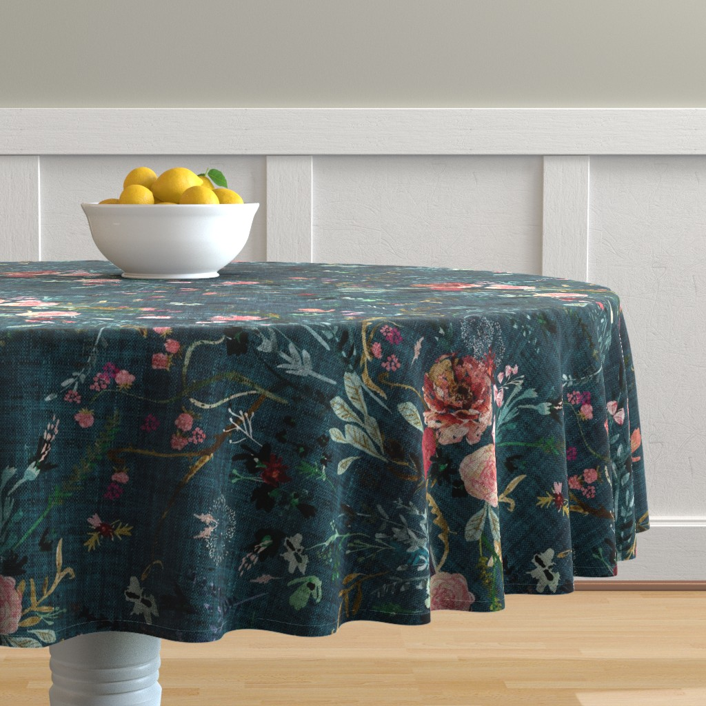 Malay Round Tablecloth featuring Fable Floral (teal) JUMBO by nouveau_bohemian