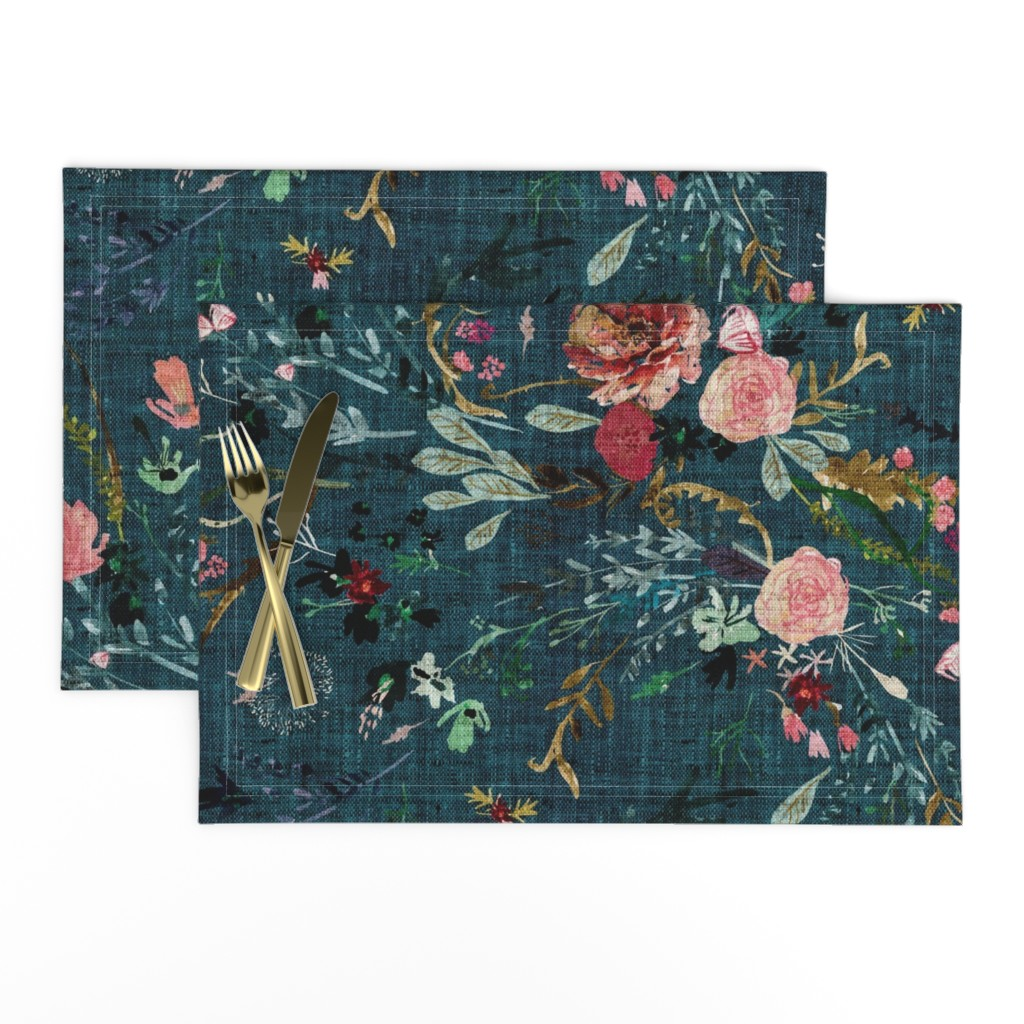 Lamona Cloth Placemats featuring Fable Floral (teal) JUMBO by nouveau_bohemian