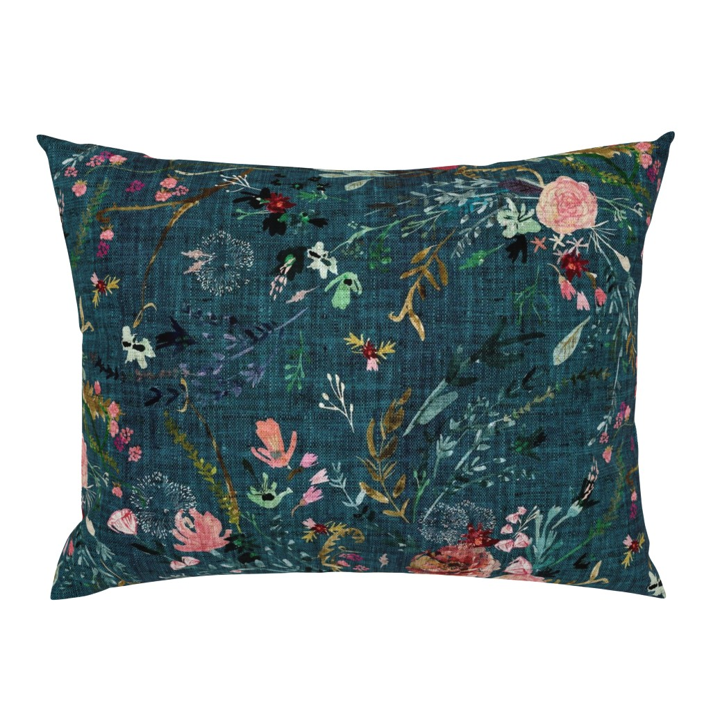 Campine Pillow Sham featuring Fable Floral (teal) JUMBO by nouveau_bohemian