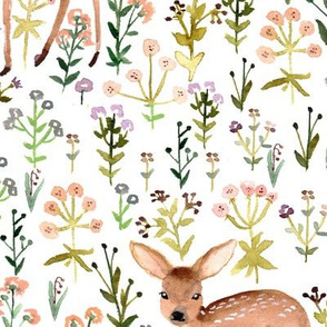 Flowers and fawn