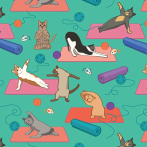 Yoga cats on Yoga Mats - Green Large Version
