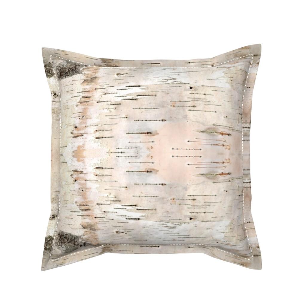 Serama Throw Pillow featuring Creamy White Birch Bark by stoneamazon
