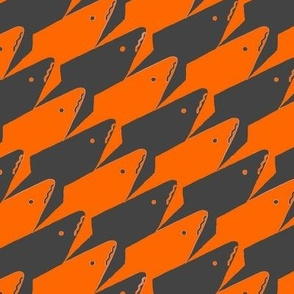 Sharkstooth Sharks Pattern Repeat in Grey and Neon Orange