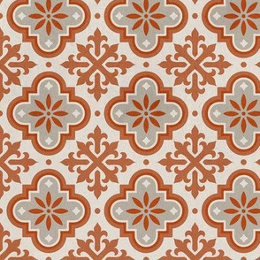 Moroccan Mosaique Cream Rust Grey tiles distressed stone texture