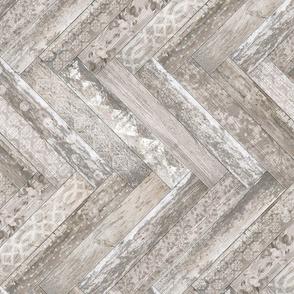 Vintage Wood Chevron Tiles Herringbone Cream Beige Horizontal