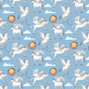 Pegasus, Son of Poseidon on blue - small scale