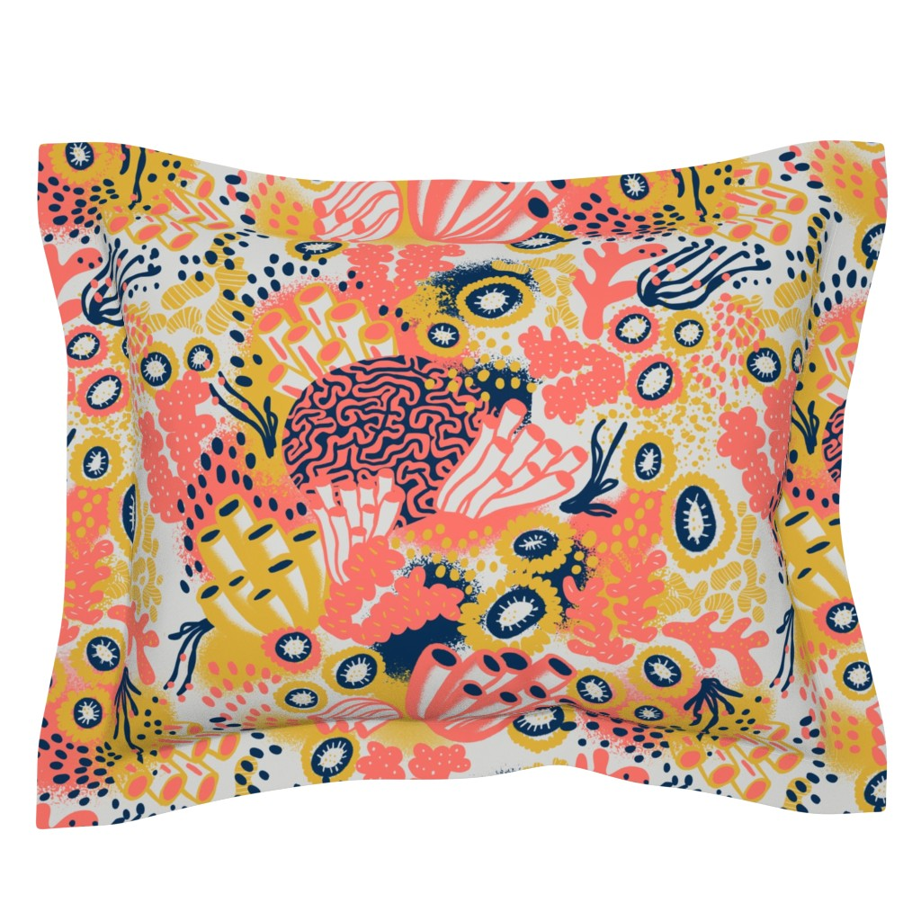 Sebright Pillow Sham featuring Living Coral by louisemargaret