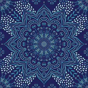 Navy blue and teal floral mandala