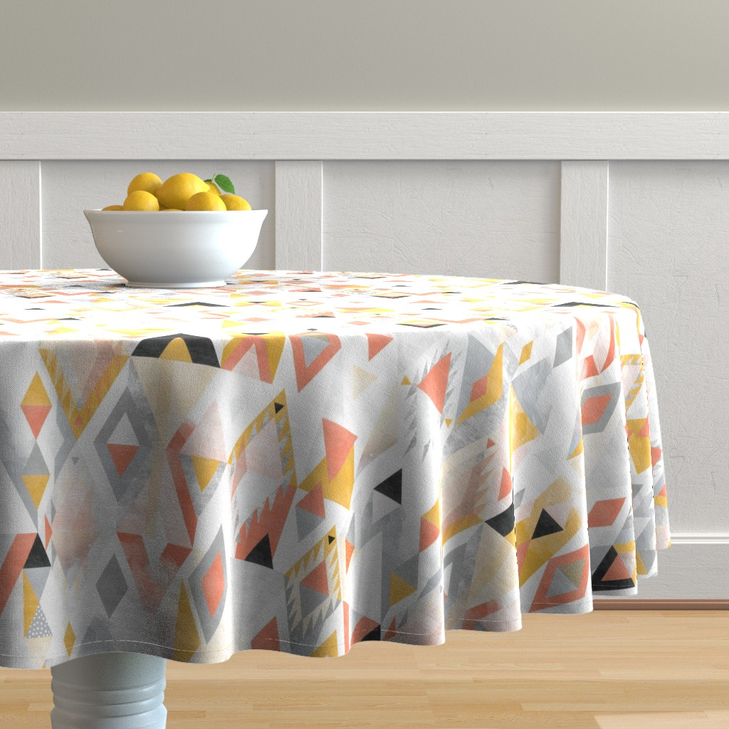 Malay Round Tablecloth featuring Desert Modernism by Mount Vic and Me by mountvicandme