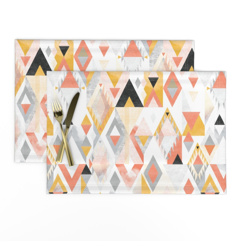 Lamona Cloth Placemats featuring Desert Modernism by Mount Vic and Me by mountvicandme