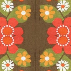 retro flowers brown orange