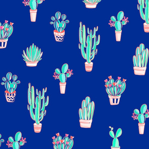 Cute Cactus Pattern on Egyptian Blue