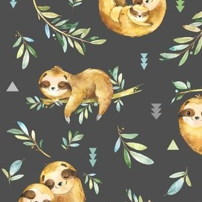 Sloths Hangin On, dark smokey gray – Children's Bedding Baby Boy Nursery, LARGE Scale